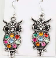 Wholesale MIC Cute Fashion Jewelry Colorful Owl Crystal Silver Fish Hooks Earrings Dangles Chandelier Fashion Jewelry