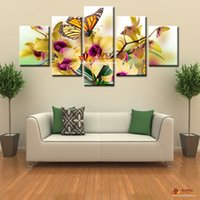 artwork and paintings - 5 Wall Pictures For Living Room Noble and Beautiful Phalaenopsis HD Canvas Print Painting Artwork Flower Canvas Paintings