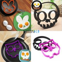 Wholesale 3PCS SET Cooking Tools Novelty Egg Fried Frying Mould Skull Owl Rabbit Silicone Egg Mold Ring Christmas Gift