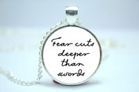american cut glass - 10pcs Game of Thrones Fear Cuts Deeper Than Swords Quote Necklace Quote Jewelry Glass Cabochon