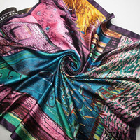 Cheap 4 lady's 50% silks 50% satins 90cm*90cm Cafe Van Gogh painting satin large square scarf scarves female models Van Gogh masterpiece pain #115