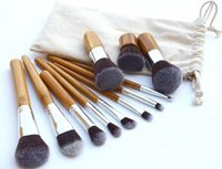 bamboo poles sale - 2015 hot sale pieces Makeup Brushes Set bamboo handle pole with cream sack Professional Brush Sets