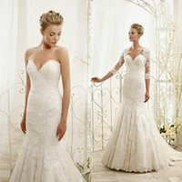 Cheap Sexy Sweetheart Mermaid Wedding Dresses 2015 Eddyk Lace Back Zipper With Applique Jacket White Wedding Gowns Custom Made China EN62520