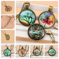 ancient shapes - New tree of life convex circular glass Pendant Necklaces O shape necklace of ancient bronze necklace