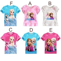 Girl t shirts - 6 colors elsa anna frozen t shirts kids clothes girls branded children year tees t shirt for girls summer style cartoon blouse tops HX