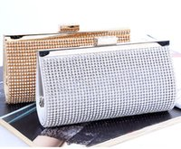 Wholesale Woman Evening bag Lady Diamond Rhinestone Clutch Crystal Clutch Wallet Purse for Wedding Party Bridal Hand Bags Gold Silver DHL