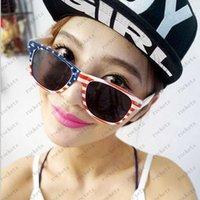 Wholesale Women Fashion Sunglasses USA Flag Print Sunglasses UK Flag Rainbow Glasses High Quality