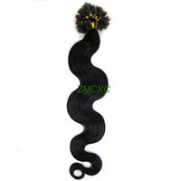best nail tips - Best Selling Fusion U Nail Tip Real Remy Human Hair Extensions Body Wave Jet Black