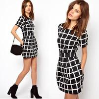 Wholesale New Summer Casual Women Print Plaid Slim Fit Short Sleeve Pockets Straight Girls Mini Dress Black S M L XL