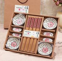 bamboo sushi plate - porcelain dinnerware set wedding gift sushi bamboo chopsticks plate gift box dinnerware set birthday wedding gift Chinaware