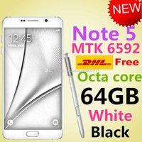 Wholesale Note5 Phone HDC N920 phone N920F N5 phone GB Ram GB Rom MTK6592 Octa core N9200 phone Note Mental Body Water Original Logo