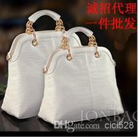 designer handbags brand name - HOT top quality named brand Crocodile composite leather women handbag chain fashion white big designer bag