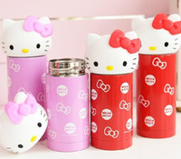 Wholesale baby cup Hello Kitty cute cartoon cat head stainless steel KT cat Insulation Cup