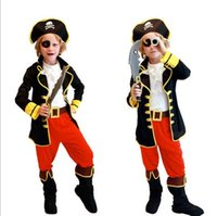 Wholesale 2015 New Halloween Cosplay costume children Boys holiday Captain Hook Captain Jack Pirates role suits stage performances Clothing A070155