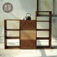 american walnut furniture - Solid wood furniture wood shelf bookcase black walnut red oak American Nordic combination wood cabinet Translation