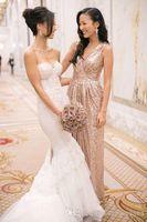 Cheap Backless Bridesmaid Dress Best Rose Gold Prom Dress