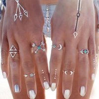 Cheap 6 Pcs Bohemia Turquoise Arrow Moon Statement Knuckle Joint Ring Midi Rings Set Women Jewelry Fashion r530