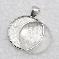 Wholesale 1 inch Pendant Trays glass cabochon set Blank Pendant Bases mm Bezel Pendant Settings for Glass or Stickers