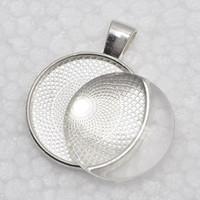 al por mayor cabochon de los ajustes de vidrio-Bandejas de cristal colgante conjunto cabujón + 1 pulgada, bases pendientes en blanco, 25 mm Ajustes pendientes del bisel de cristal o etiquetas engomadas