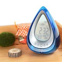 Cheap Desktop Alarm Clock Water Powered Weather Station Humidity Temperature Detector Thermometer Hygrometer Calendar Despertador