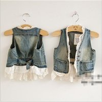 denim waistcoat - 2015 girls Lace Cardigan Fashion Summer Sleeveless Coats Vest Kids Denim jackets jacket Waistcoat Children Outwear Cute Waistcoats