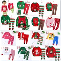 Wholesale 2015 new style Children Home Christmas Outfits sweater top and pant set with Cartoon picture Christmas Pajamas set Baby Clothing BY00