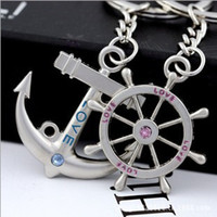 anchor keychain - Boat Anchor Helm Charms Love Keychain Key Ring Popular lovers gift Hooks keychain romantic boat anchor trinket gadget key chain ring