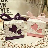 Wholesale Romantic Heart Ribbon couple Wedding Favor Candy Boxes wedding gift box