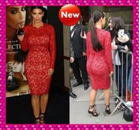 Cheap Kim Kardashian Hot Red Lace Long Sleeve Evening Dresses Under 130$ Jewel Neckline Knee Length Sheath Body Hugging Celebrity Party Gowns Sale