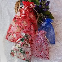 Wholesale Christmas BAG wrap Organza Christmas Gifts bags Pouch Xmas Snowman Bell Drawstring Bag Packaging Wedding Candy Bag Jewelry Bags