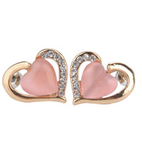 fashion jewelry dropship - European and American Fashion Brand Women Jewelry Rhinestone Opal Heart Stud Earrings Factory Direct Dropship Y60 MHM664 M5