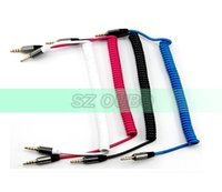 Wholesale colorful mm AUX cable male to male Audio Car Aux Extension Retractable spring line Cable for Mp3 mobile ipod touch colorful