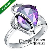 Cheap Purple Red CZ Rings for Bride Party Water Drop Rhinestone 925 Silver Stone Crystal Fashion Jewelry No Min. J093