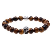 Wholesale Pulseras mujer brown lazurite stone skull beads bracelet elastic charm bracelet men pulseras hombre bracciali uomo mens bracelets