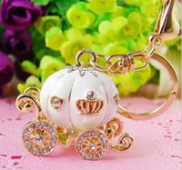 big diamond ring keychain - Cute Big White Princess Pumpkin Carriage Crystal Charm Keychain Key Ring JIA649