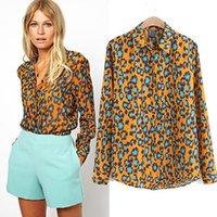 Cheap 2015 Spring Autumn Leopard Print Women Blouse Shirts Long Sleeve Blusa Femininas Blusa De Renda S-L