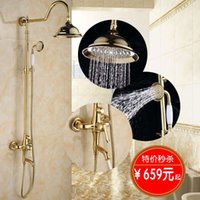 Wholesale Ze faction bathroom shower golden shower set European wide copper antique bath shower faucet