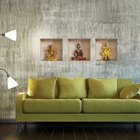 Wholesale 3d showcase three dimensional wall stickers decoration murals gold bodhisattva
