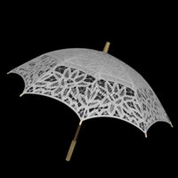 Wholesale White Handmade Lace Umbrella Cotton Embroidery Battenburg Lace Parasol Umbrella Wedding Bridal Decoration