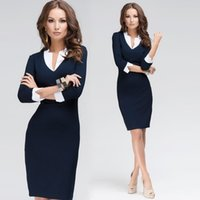 office dresses - Women Dress Deep V Neck Patchwork Design Sleeve New Fashion Causal Dress For Office Work Female Ladies bandage Dress G0963