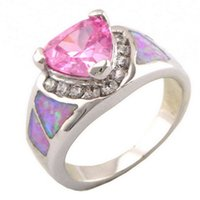 Wholesale opal jewelry with cz stone fashion opal rings pink opal ring OR026A