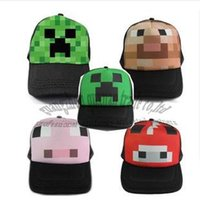 Wholesale 4pcs minecraft monster Creeper ball caps Mesh hat Peaked Cap Sun hat four color style to choose children gift