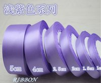 Wholesale 1CM CM Width ribbon Light Purple Color Single Sided Satin Ribbon Select Candy wedding Value Decoration Rolls Best Selling