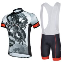 Wholesale Grey Cycling Bib Jersey Sets Short Sleeve Breathable Bicycle Jersey Sets for Men Zipper Closure Dragon Pattern CJ