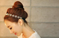 Wholesale Lovely Chain Elastic Hollow Out Rose Flower Stretch Gold Hair Band Headband Metallic hair accessory for women Lady fashion