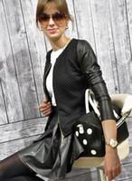 Precio de Leather jackets-Nueva Mujeres señora Slim PU Zip Casual manga larga con estilo blusa superior Outwear chaqueta de la capa