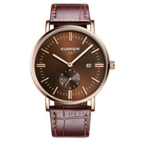 Wholesale GUANQIN Men Quartz Watch m Waterproof Big Dial Sapphire Crystal Stainless steel and Leather Slim Male Wrist Watch