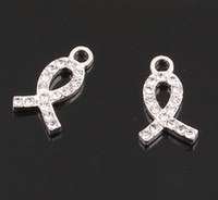 cancer charms - Crystal Rhinestone Ribbon Breast Cancer Awareness Sign Pendant Charms for Bracelet Jewelry Making DIY JJAL BE337