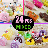 Wholesale 24pcs styles squishy mixed order colors cm pudding cake cm donut Squishy phone charms Refrigerator magnets