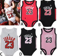 baby jordan - 5 Color Baby Basketball Jersey Romper Boys Girls Casual Sports Sleeveless One piece Summer Infant NO Jordan Printed Climb Clothing I4437